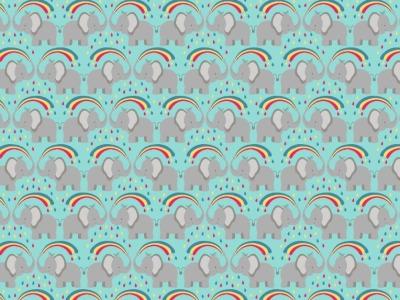 05m BW Rainbow elephants on blue