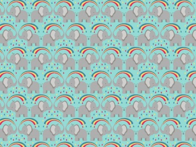05m BW Rainbow elephants on blue