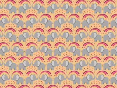 05m BW Rainbow elephants on ochre