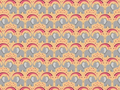 05m BW Rainbow elephants on ochre