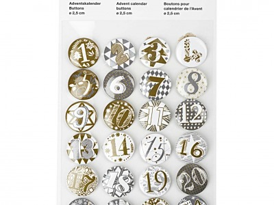 Packung Button Adventskalender Zahlen 1-24 gold