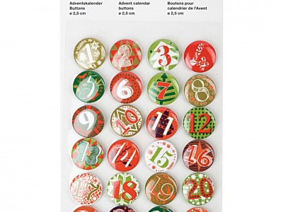 Packung Button Adventskalender Zahlen 1-24 rot