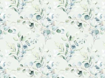 05m Jersey Digitaldruck Eukalyptus Blätter ecru