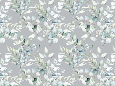 05m JerseyDigitaldruck Eukalyptus Blätter grau grün