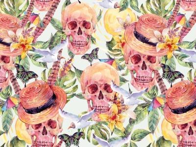 05m Jersey Digitaldruck Skulls Totenköpfe Blüten