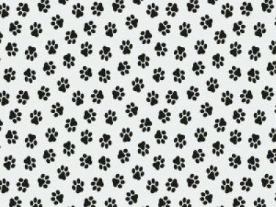 05m Baumwolle Pfoten Pfötchen weiß schwarz
