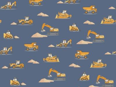 05m Baumwolle Baumaschinen Bagger jeansblau gelb