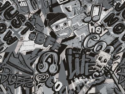 05m Jersey Grafitti Digitaldruck grau schwarz
