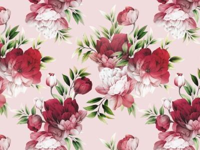 05m Jersey Blumen Flowers rosa apricot