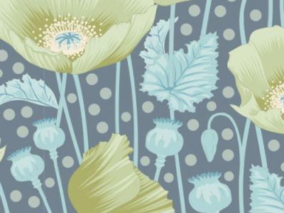 05m BW Tilda Gardenlife Poppies grey