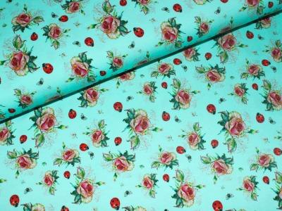 05m Jersey Rosen mit Marienkäfer mint