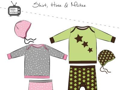 Papierschnittmuster Fadenkäfer Babyset Gr 50-98 Shirt