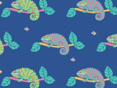 05m Jersey Chameleon Chamäleon mittelblau bunt