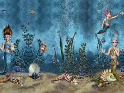 1Panel Jersey Mermaids Meerjungfrauen Fische bunt