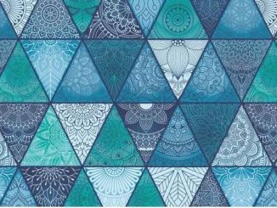 05m Jersey Dreiecke Mandala blau türkis