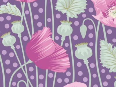 05m BW Tilda Gardenlife Poppies lilac