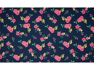 05m Jersey Blumen dunkelblau pink gelb