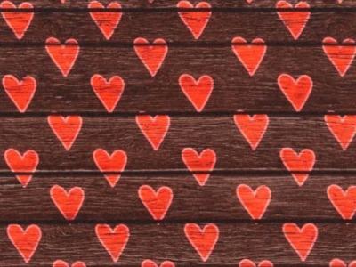 05m Jersey Holz Herzen braun rot