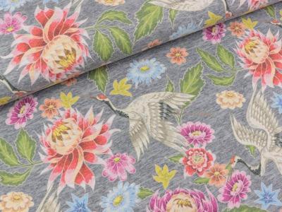 05m Jersey Kranich mit Blumen meliert