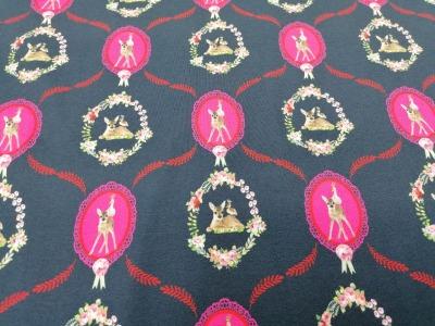 05m Jersey Reh Ornamente dunkelgrau pink