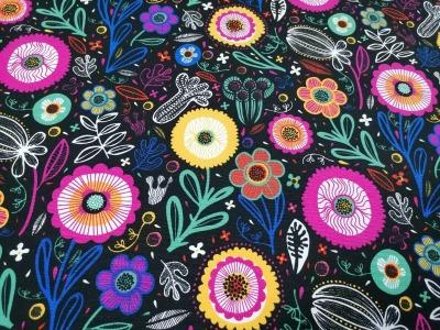 05m Deko Baumwolle Flowers Blumen schwarz