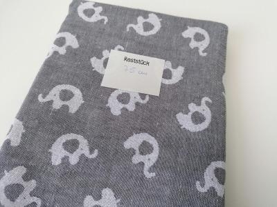 075m Jaquardt Doubleface Elefanten grau weiß