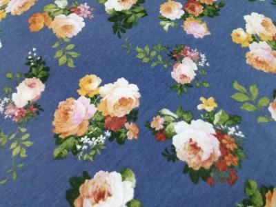 05m Canvas Blumen Rosen vintage jeansblau
