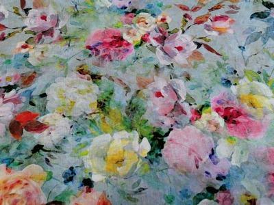 05m Viscose Leinen Digitaldruck Blumen Aquarell