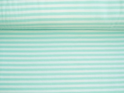 05m Jersey Ringel Streifen mint weiß