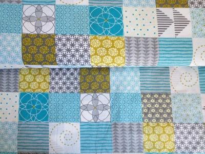 05m BW Moderne Quadrate weiß türkis