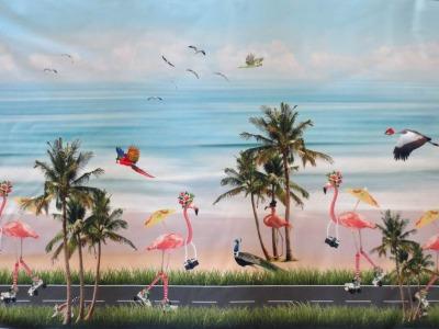 05m Jersey Bordüre Flamingo auf Rollschuhen