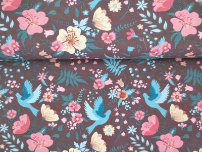 05m Jersey Blumen Vögel braun türkis