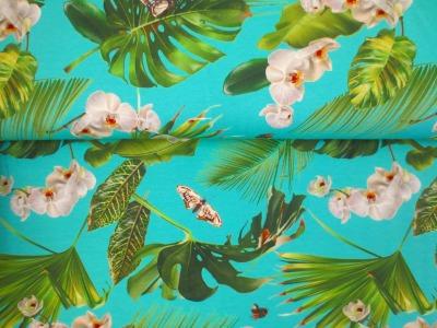 05m Jersey Orchideen und Blätter Schmetterlinge