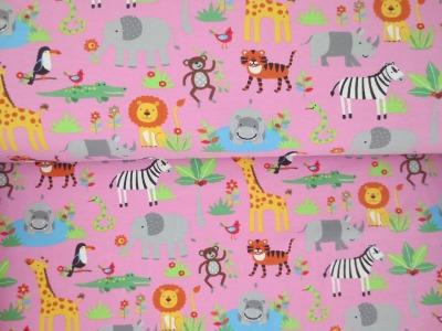 05m Jersey Safari Tiere rosa bunt