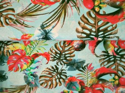 05m Jersey Blätter Philodendron Mangostin hellblau
