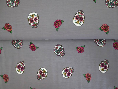 05m Jersey Totenköpfe mit Blumen Herzen