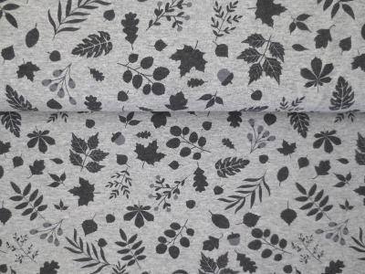05m Jersey Herbstblätter Eicheln meliert grau