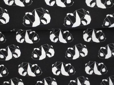 05m Jersey Panda Geometrik schwarz weiß