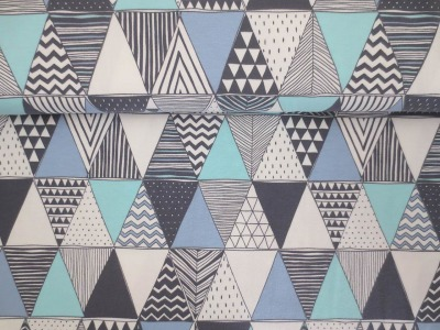05m Jersey Dreiecke mit Muster weiß