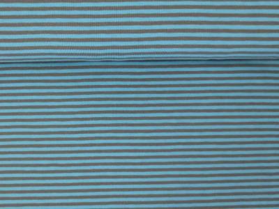 05m Jersey Ringel Streifen mittelblau taupe