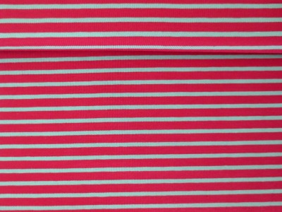 05m Jersey Ringel Streifen magenta hellgrau