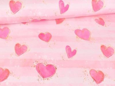05m Jersey Glitzerpüppi Herzen Aquarell rosa
