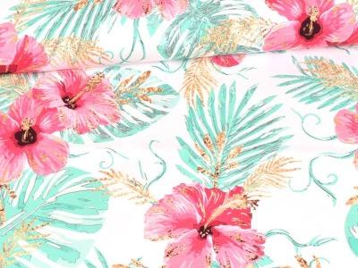 05m Jersey Glitzerpüppi Hibiscusblüten Hawai weiß