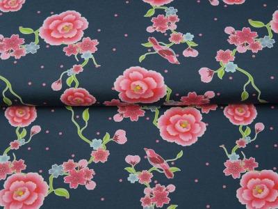05m Jersey Blumenranke Vogel jeansblau pink