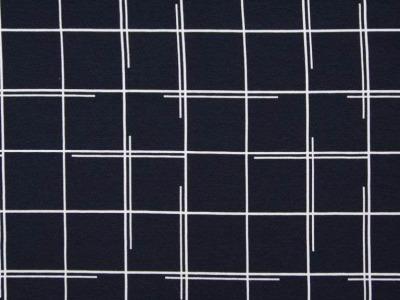 05m Jersey Graphische Vierecke dunkelblau weiß