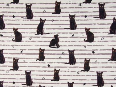 05m Jersey Digiatdruck Katzen Stripe weiß