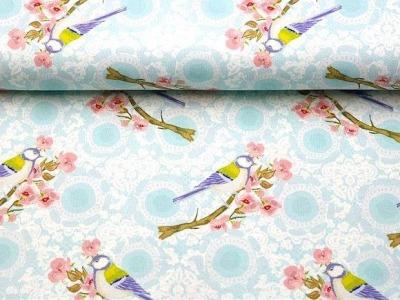 05m Jersey Meise Vogel Blumen hellblau