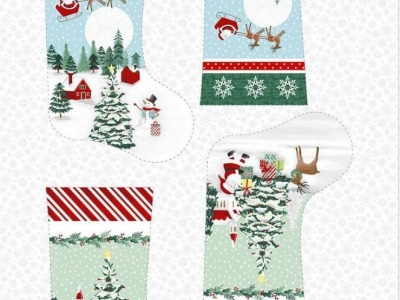 Panel Baumwolle Christmas Stocking bei Anna