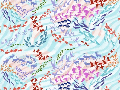 025m Baumwolle Migration Migratory Map Tiere