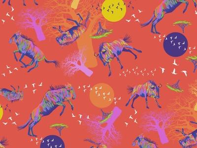 025m Baumwolle Migration Wildebeests in Motion